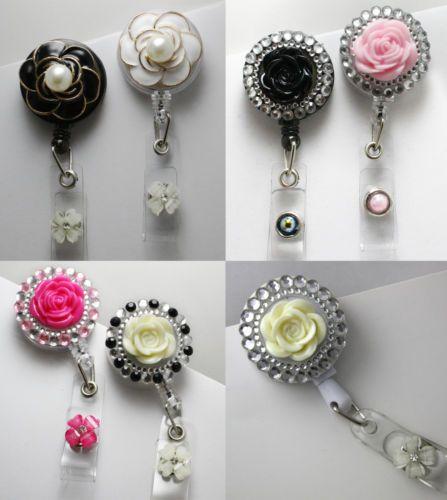 3D Retractable Reel Bling ID Badge Holders Handmade Rhinestones Flower Pearl | eBay