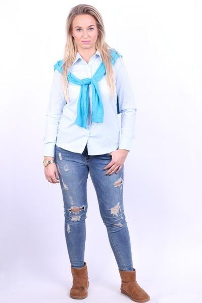 Lacoste Womens 40 L Casual Shirt Light Blue Cotton Slim Fit - RetrospectClothes