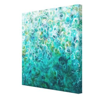Teal White Abstract Ombre Painting 12x12 Canvas Gallery Wrap Canvas