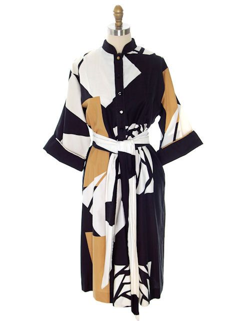 Vintage Catherine Ogust /Penthouse Gallery Shirt Dress Abstract Stained Glass  1970s by BestVintageEver on Etsy