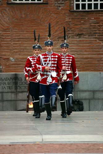 Guardsmen of the National Guards Unit of Bulgaria in their ceremonial dress uniforms at the eternal flame in Sofia, Bulgaria.