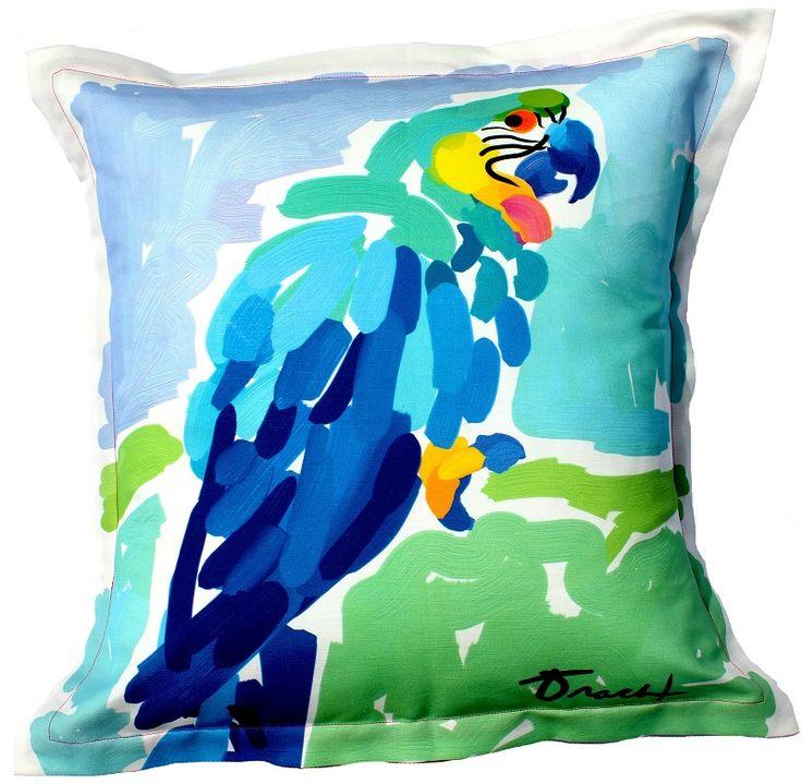 Atoll Blue Parrot Indoor Outdoor Pillow Beach Decor Coastal Decor Nautical Decor