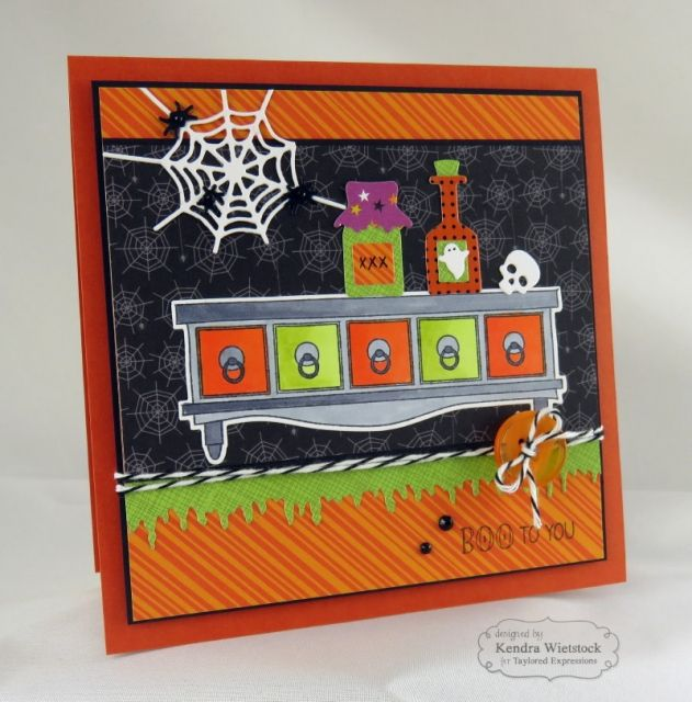 Apothecary Shelf Boo to You Card By: Kendra Wietstock #Cardmaking, #TEMatched…