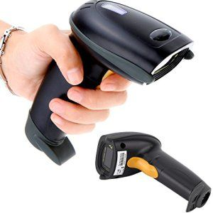 Handheld 1D Lecteur Code Barre Sans fil Douchette Laser Scanneur codes barres USB Noir