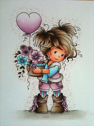Copic coloring; Sylvia Zet; Wee Stamps; Wee Digital Stamp Amy