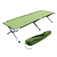 Folding cot ideal for camping constructed with aluminum with steel hinges that is very sturdy and comfortable. It is easy to fold up and comes with a carrying case for easy storage and travel.