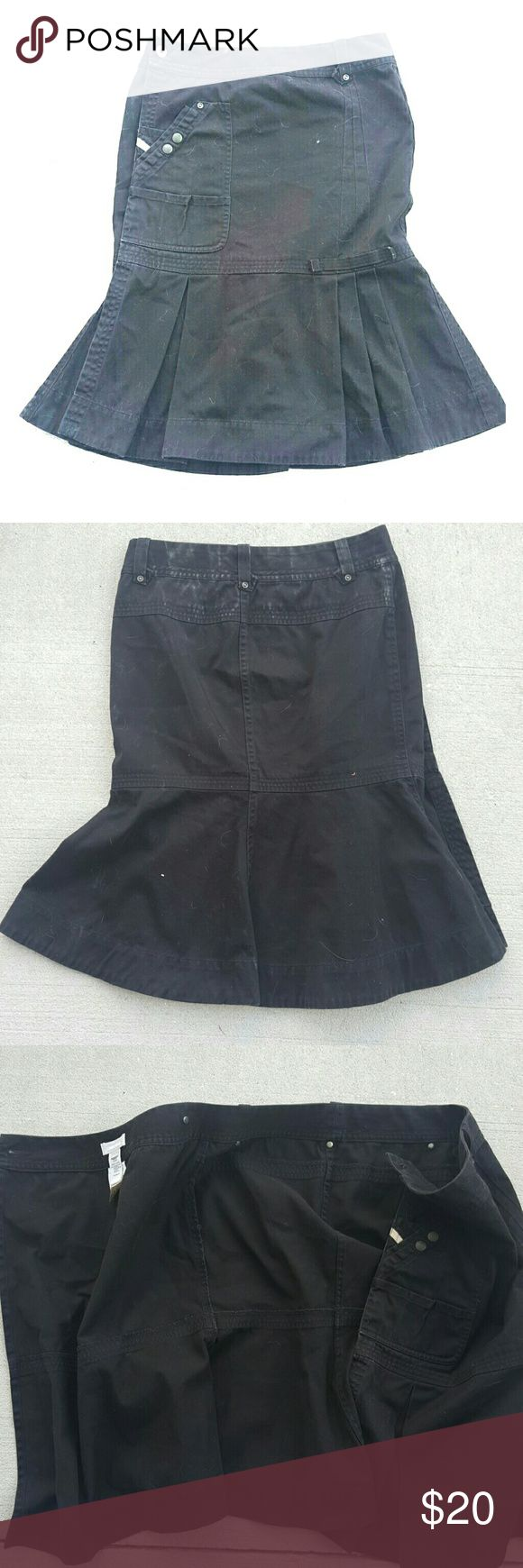 ✴️Diesel black wrap skirt fitted then flares out Diesel black wrap skirt with pleated bottom size 26 fading on hard to see in photos.  In the second photo you can see on top of the skirt around the waist that there is some fading Diesel Skirts Midi