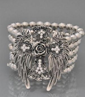 Western Rhinestone Wings Rose Cross Bling Bracelet