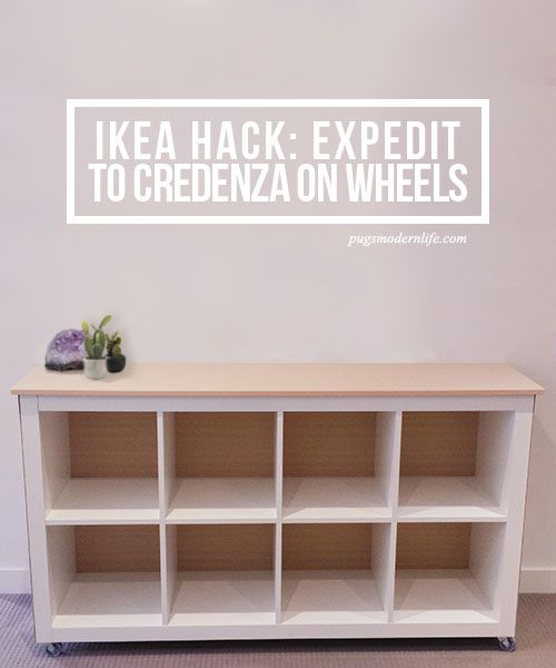 An easy and sleek IKEA Hack turns an Expedit or Kallax unit into a simple, stylish credenza on wheels.
