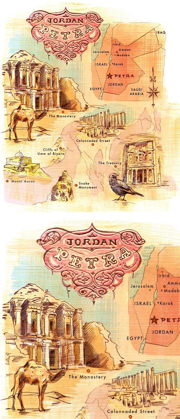 Petra, Jordan Illustrated Map - Jacqui Oakley Illustration & Lettering