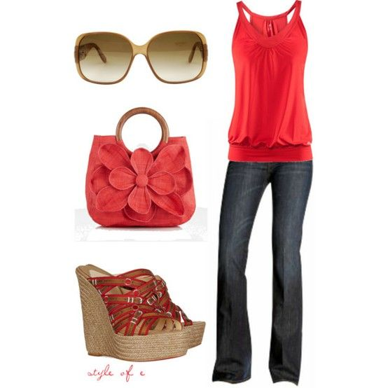 Red outfitShoes, Fashion, Summer Looks, Red, Summer Outfit, Style, Clothing, Cute Outfit, Spring Outfit