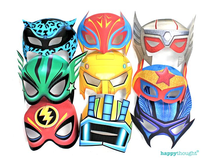 Superhero party masks! Diy printable paper mask template and tutorial at https://happythought.co.uk/product/printable-superhero-masks 3d paper masks for superheroes!