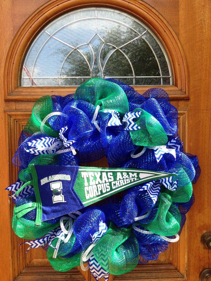 TAMUCC Deco Mesh wreath for my daughters Dorm Door