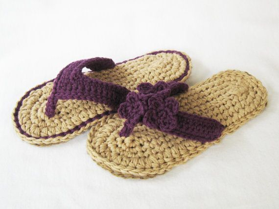 CROCHET PATTERN Indoor/Outdoor Violet Flip Flops (4 sizes included: Womens 3-10) Permission to sell finished items. $4.99, via Etsy.