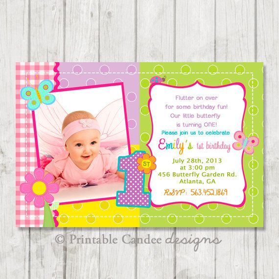 Butterfly 1st Birthday Invitation Bug Party Insects Garden Invite Printable