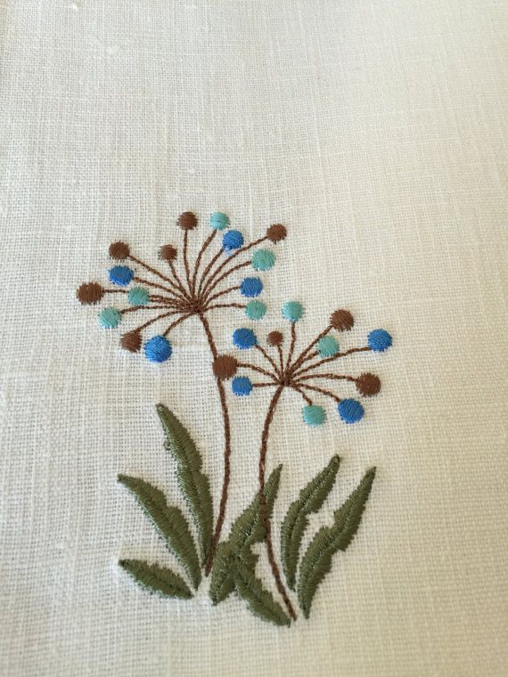 Linen Placemats Set of 6 Embroidery Linen Table by Rokasdarbi