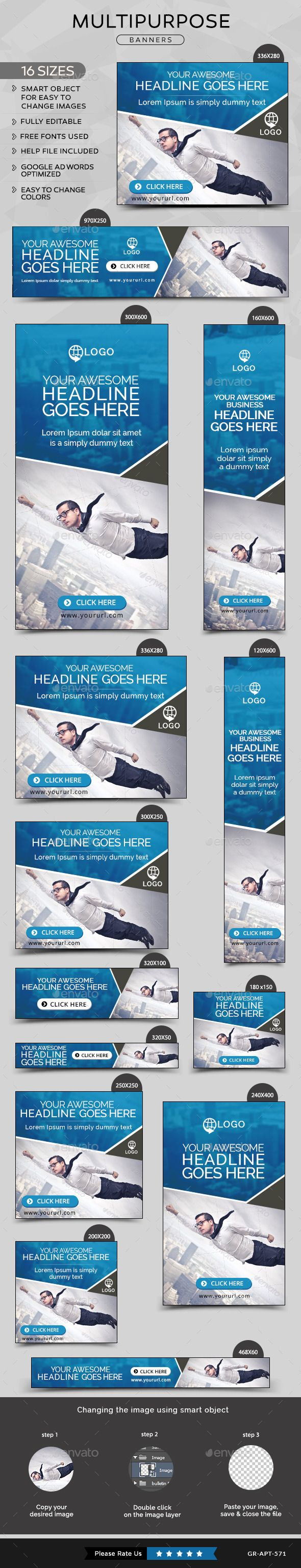 Multipurpose Banners Design Template - Banners & Ads Web Template PSD. Download here: https://graphicriver.net/item/multipurpose-banners/11293529?s_rank=1793&ref=yinkira