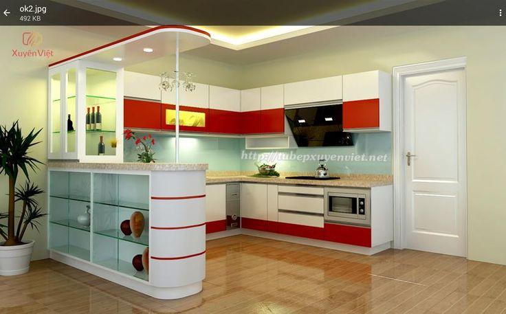 Tủ bếp đẹp có quầy bar nhà chị Nhung - Tủ bếp Quảng Ninh