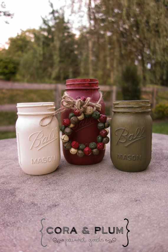 Country Christmas Maroon Olive Shabby Chic Painted Mason Jar Fall Wedding Centerpiece Country Wedding Home Decor on Etsy, $19.00