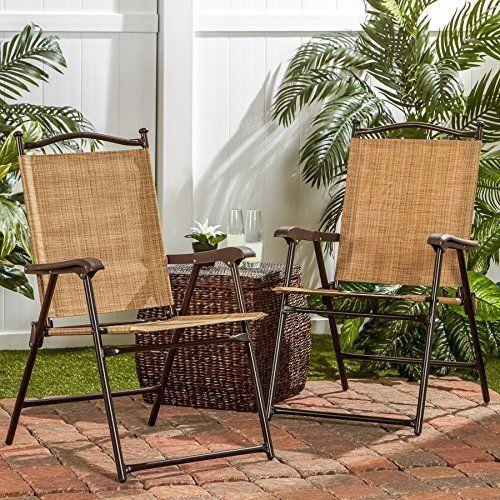 Outdoor Patio Chairs Chair Set Of 2 Fabric Steel Frame Garden Yard Pool Modern  #Kbrand