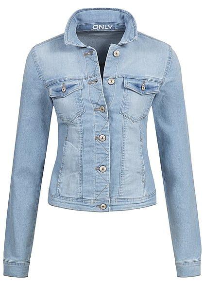ONLY Damen Jeans Jacke NOOS 2 Taschen 2 Brusttaschen Knopfleiste hell blau denim - Art.-Nr.: 17031981