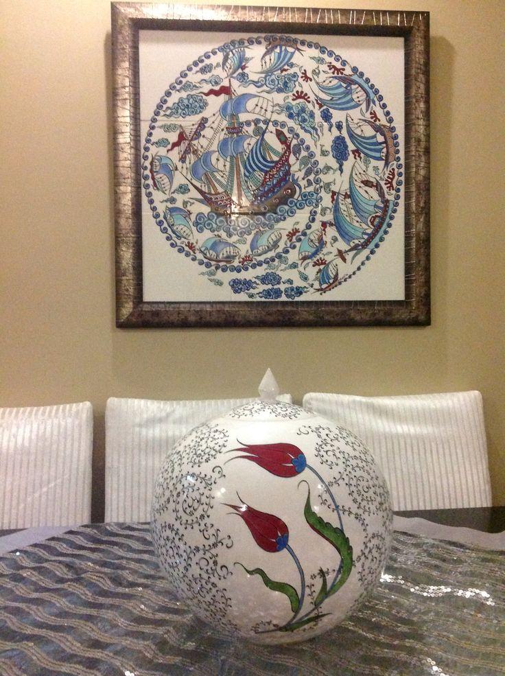 60x60kalyonlu pano 30cm küre kavanoz Tile art, handmade