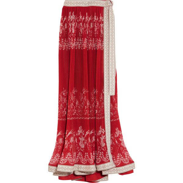 EtroEmbroidered Pleated Floral-print Chiffon Maxi Skirt (€345) ❤ liked on Polyvore featuring skirts, etro, red, long pleated chiffon skirt, red pleated skirt, red chiffon maxi skirt, pleated maxi skirt and pleated chiffon maxi skirt