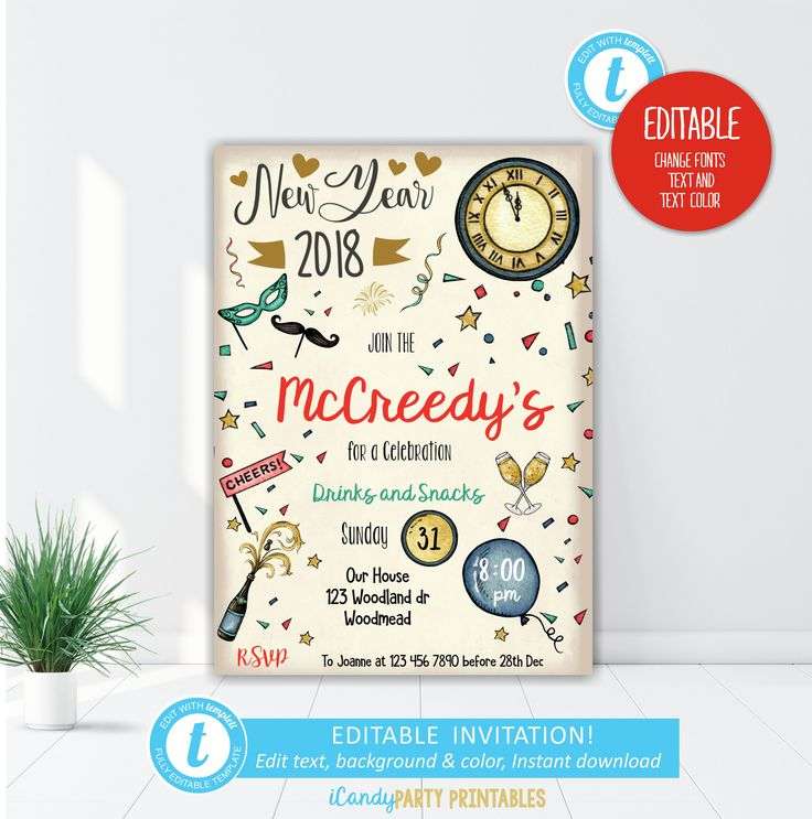 New Year's Invitation, New Years Eve Invitation, New Years Eve Party Invitation, New Years Eve 2018, Editable, Printable, Instant download by iCandyPartyPrintable on Etsy