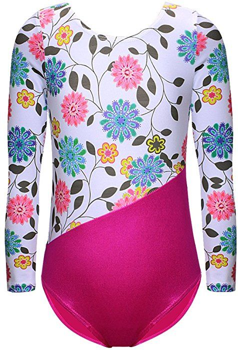 0b1975dd0fca Amazon.com: DAXIANG One-Piece Gymnastics Leotard Long Sleeves Floral Printed  Gold Dance Unitards for Little Girl (White, 130(5-6Y)): Clothing