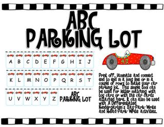 Parking Lot Letter Recognition Game Freebie