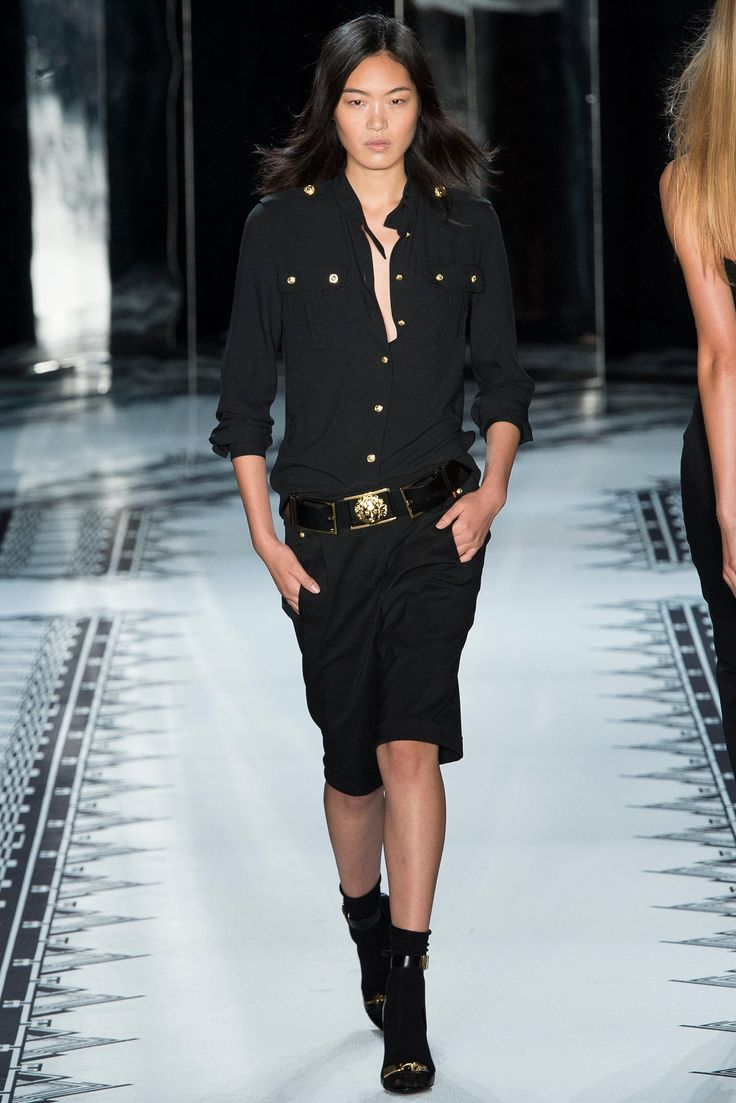 long black coat Versus Versace Spring 2015 Ready to Wear Collection Photos   Vogue