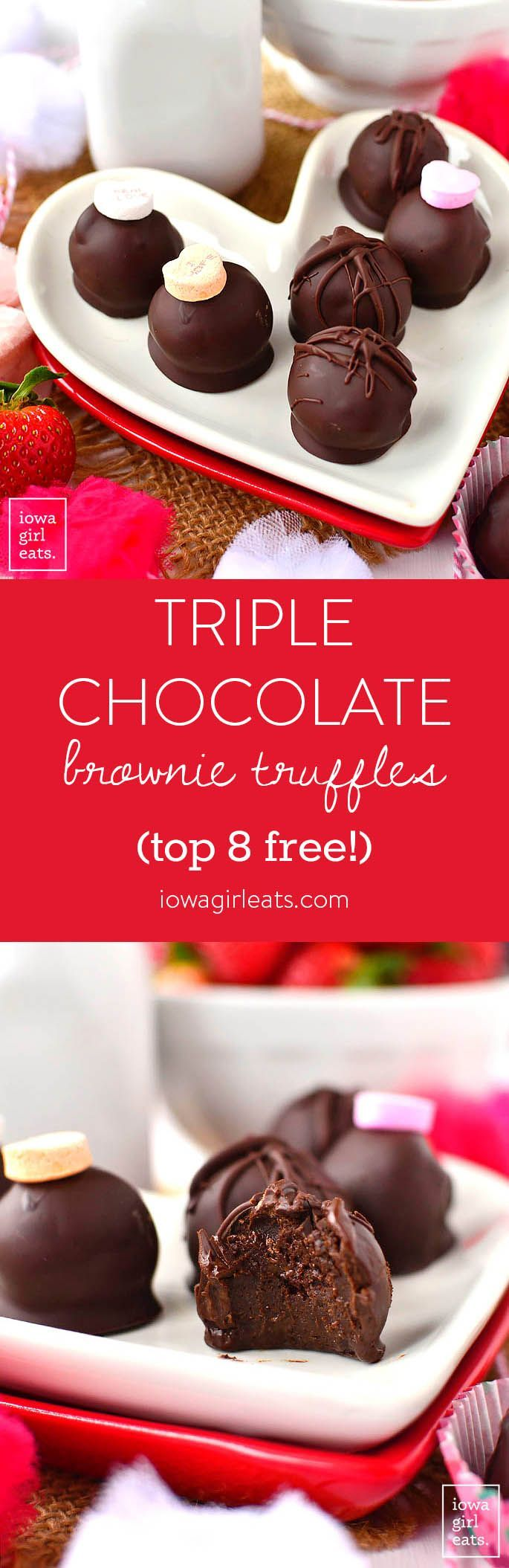 Triple Chocolate Brownie Truffles are decadent yet super easy, and free from the top 8 food allergens. A must-try for chocoholics! | iowagirleats.com