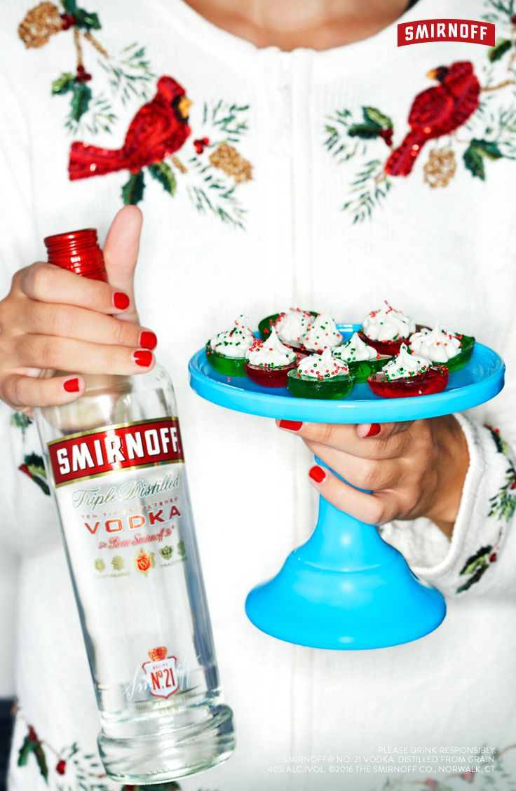"""""""Deviled egg shots anyone?"""" Be the ultimate host or hostess and blow your guests away this holiday season with these cute and festive vodka gelatin shots. They're sure to be a crowd favorite. Red and green never looked so good on you.   Grab one box of Red Gelatin and one of Green Gelatin. Follow the instructions on the box as you normally would, but replace the cup of cold water with Smirnoff No. 21 Vodka. Pour the mixture in an egg mold, and set for about 2 hours in the refrigerator."""