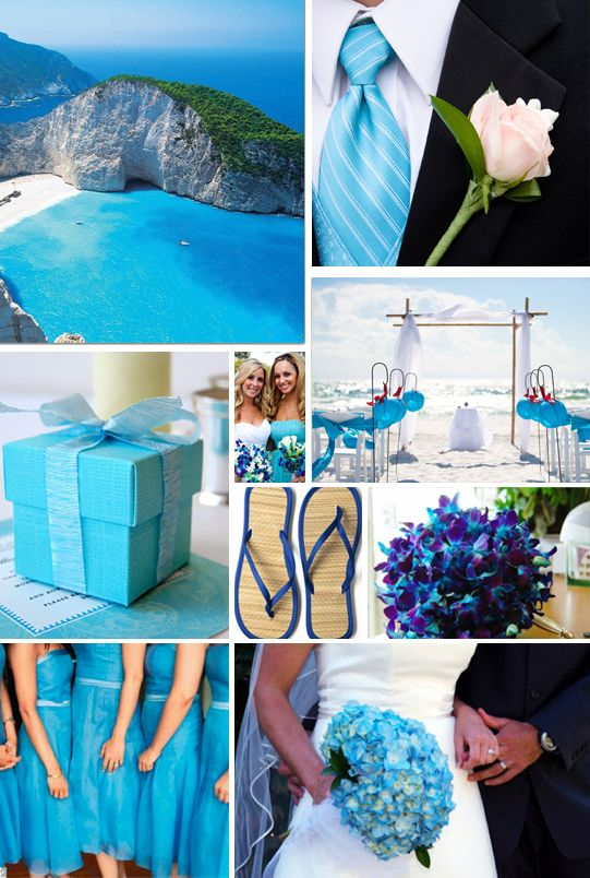 Bright Blues for a Beach Wedding