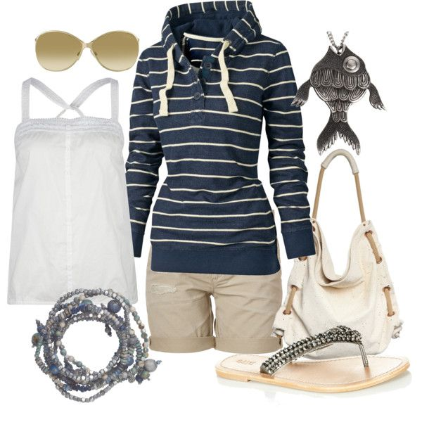 : At The Beaches, Navy Stripes, Beaches Outfits, Fish Necklaces, Summer Outfits, Cute Hoodie, Stripes Hoodie, Transitional Outfits, Summer Night