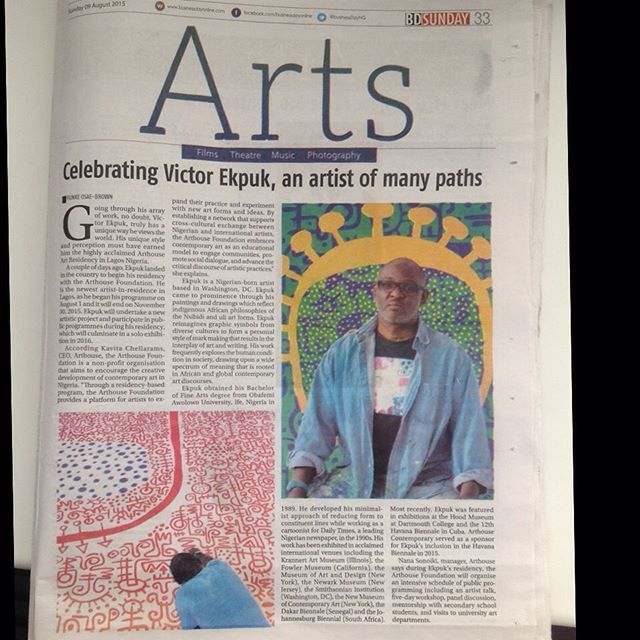 Victor Ekpuk gets more and more publicity in the Nigerian dailies. #kavitachellaram #victorekpuk #arthousecontemporary #africanarts #nigerianarts #lagos