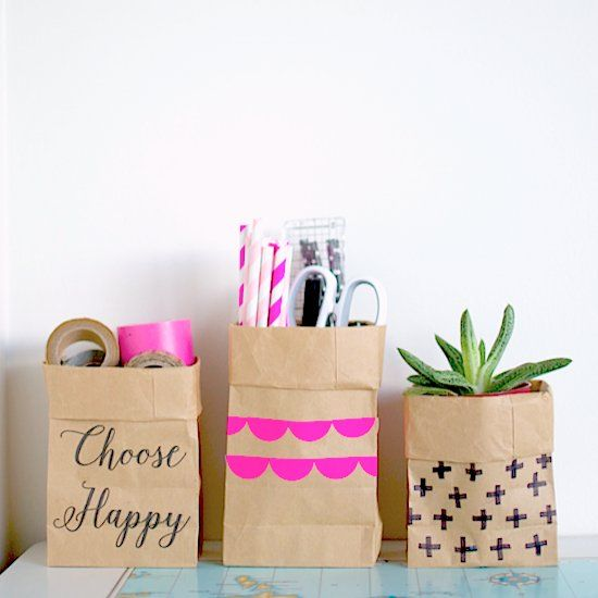 These paper storage bags may not be washable but they are still really cute, not to mention super simple to make.
