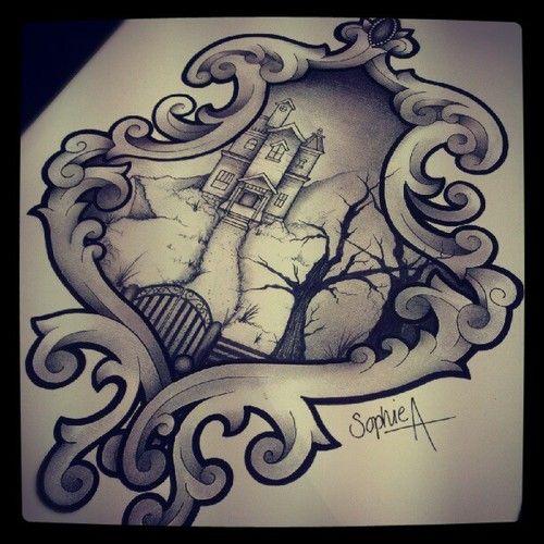 76 Best Halloween Tattoos Images On Pinterest Tatoos: haunted house drawing ideas