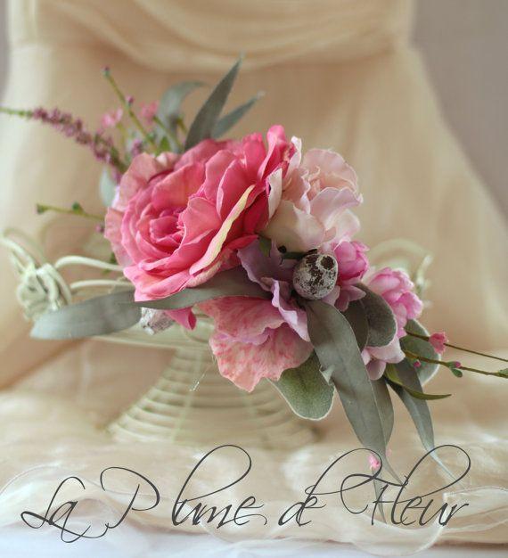 Sweet Pea - floral crown, hair circlet.  Feature pink garden rose, sweet peas, jasmine, wildflowers, gumnuts, foliage.