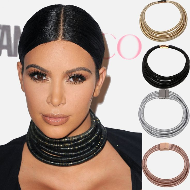 5 Colors Fashion Chic Coils Choker Necklace Multilayer Coiled Rope Chain Kardashian magnet Collar Necklace JURAN Maxi Jewelry