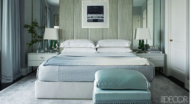 This is the color to use when you need to relax. Wear or surround yourself with it if you have difficulty sleeping, dreaming, or meditating. Try an aqua duvet, vase or painted floor. Interior design by William Sofield    - ELLEDecor.com