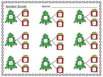 Practice finding the missing pieces in this Christmas themed number bond practice page! Your students will love solving the festive Christmas tree number bonds found on this worksheet.   The purpose of this activity is to teach that number bonds are simply adding two smaller numbers to equal a whole or breaking down a larger whole number into two smaller parts.