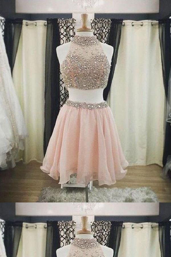c650f830491b Pink Party Dress, Party Dress Two Piece, High Neck Party Dress #Party #Dress  #Two #Piece #High #Neck #Pink #PartyDressTwoPiece #PinkPartyDress ...