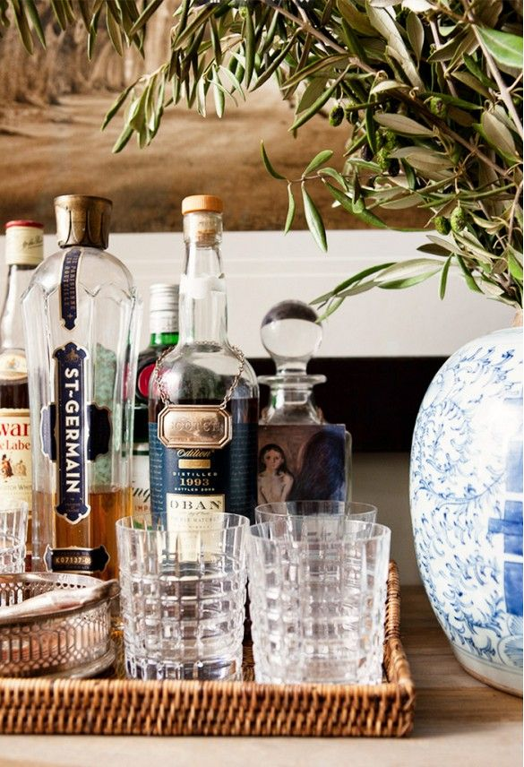 this is sort of what i was thinking for the mini bar - all together in a nice basket
