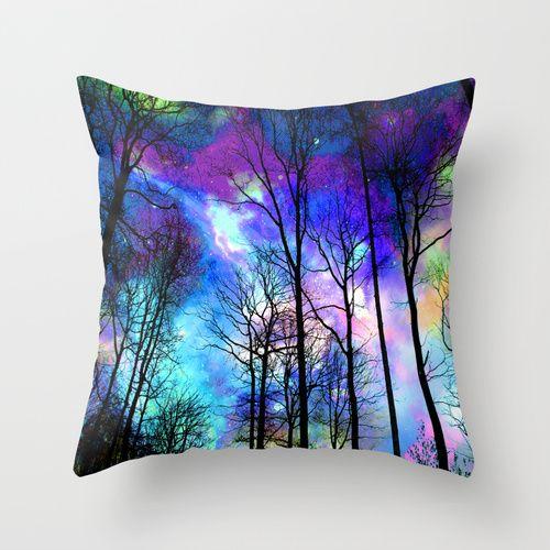 fantasy sky Throw Pillow #pillow #throwpillow #decor #decoration #interiordecor #dormdecor #fantasy #fantasyart #magical #trees #forest #sky #purple #pink #blue #teal #romantic #beauty #homedecoration #society6 #haroulita @society6