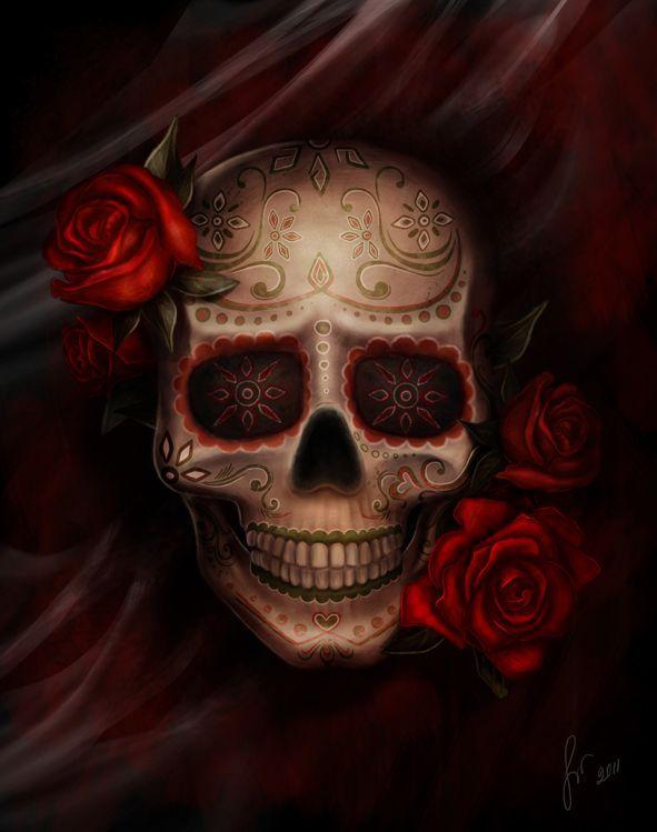 skull & red roses
