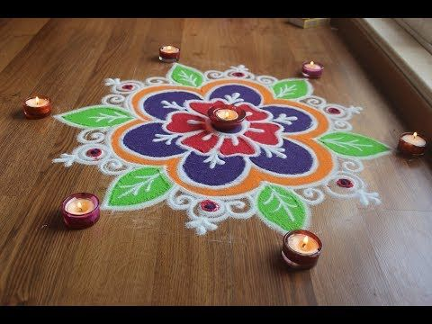 Simple , Easy and Quick freehand Rangoli designs with colours/ Rangoli Designs by Shital Daga - YouTube