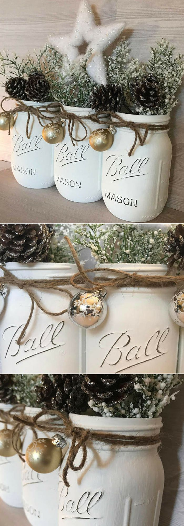 Beautiful white Christmas Mason jar decor perfect for that special room. This pint sized set of white Mason jars has been lightly distressed. They feature a gorgeous gold snowflake mini ornament. Twine finishes the look to give that rustic touch. They also make fabulous gifts for that get together. #ad #affiliate