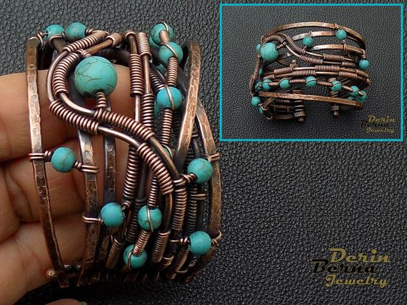 Wire wrapping copper blue turquoise women cuff bracelet,wire wrapped bracelet,charm bracelet,Turquoise copper cuff bracelet,Free Shipping