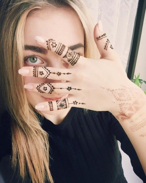 Very simple mehndi design for fingers